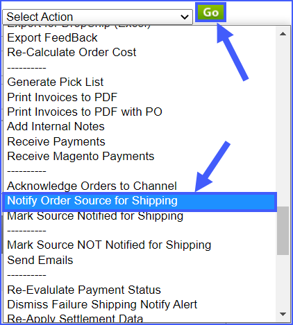 resend tracking information for an order sellercloud alpha interface