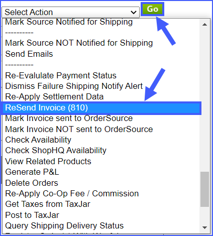 resend invoice information for an order sellercloud