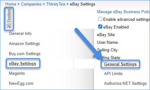 sellercloud alpha toolbox ebay general settings page