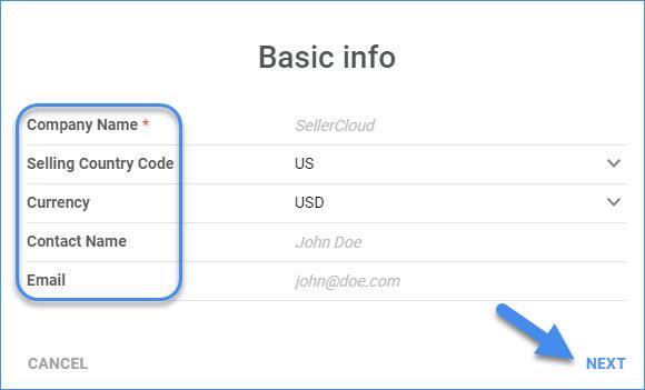 sellercloud delta add new company basic info