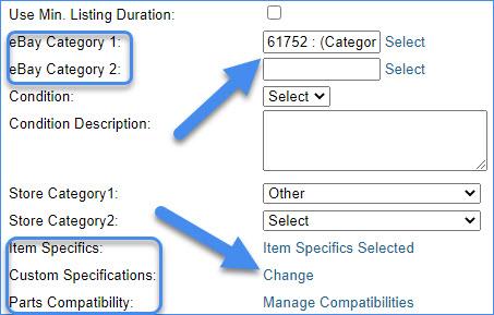 sellercloud alpha ebay motors product item attributes