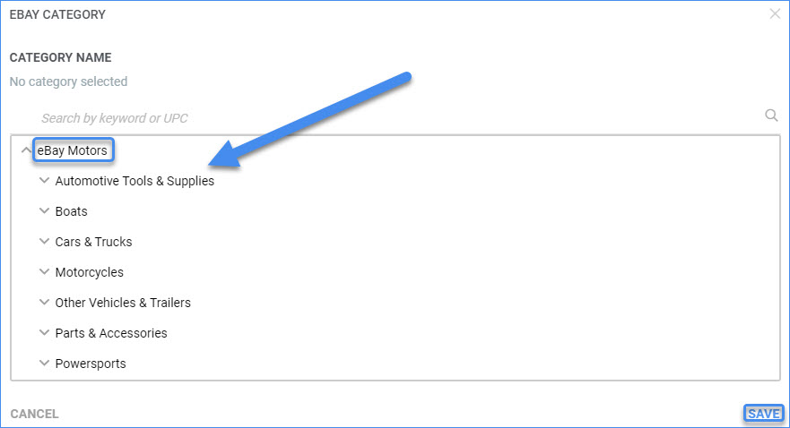 sellercloud delta ebay motors product category