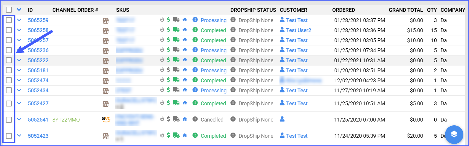 sellercloud delta interface search orders