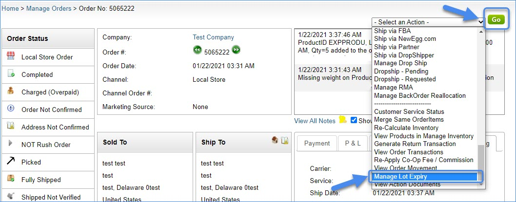 manage lot expiry in order information